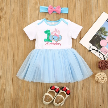 2pcs Baby Girl Short-sleeve Cotton  Party Letter & Elephant Rompers & Bodysuits