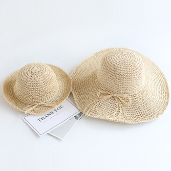 Mommy and Me Foldable Bow Straw Hats