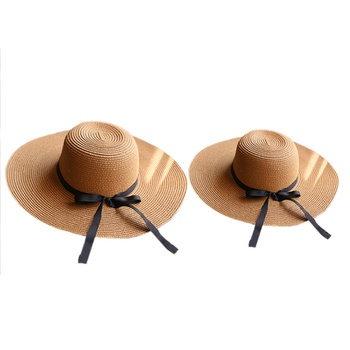 Mommy and Me Big Brim Bow-knot Straw Hats