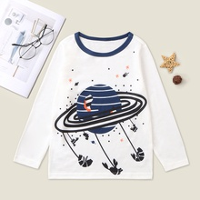 Stylish Universe Planet Print Longsleeves Tee