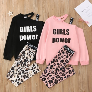 Kid Girl Sweatshirt & Leopard Pants Set