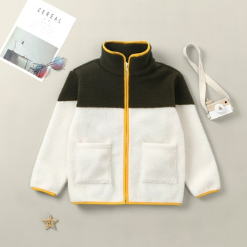 Kid Unisex Fleece Color Contract Coat