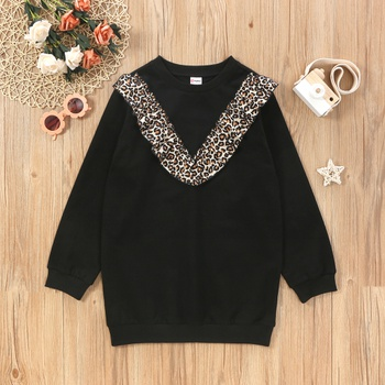 Fashinable Kid Girl Leopard Ruffled Decor Pullover