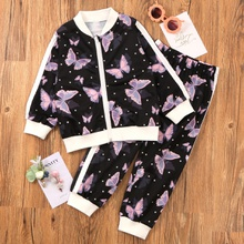 Toddler Girl Butterfly Zip-up Sets