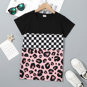 Kid Girl Casual Short-sleeve Multi-color Leopard lattice  T-shirt