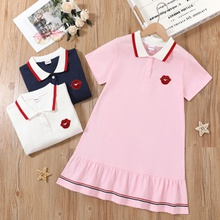 Pretty Kid Girl Preppy Style Polo Collar Tunic Dress