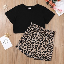 Fashionable Kid Girl Leopard Casual Set