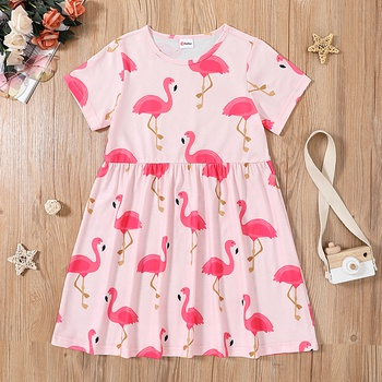 Beautiful Kid Girl Flamingo Print Dress