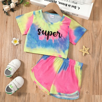 2pcs Toddler Girl Casual Colorblock Top and Shorts Suit