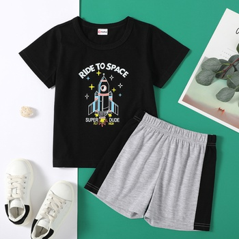 Trendy Toddler Boy Rocket Print Tee And Shorts