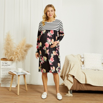 Maternity Round collar Floral full print Black Short Tunic Long-sleeve Dress