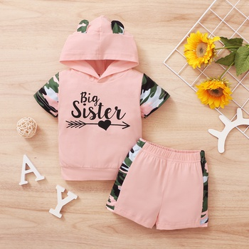 2pcs Summer Cotton Hooded Short-sleeve Baby Girl Sweet Camouflage Baby's Sets