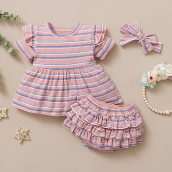 3pcs Baby Girl Sweet Stripes Baby's Sets