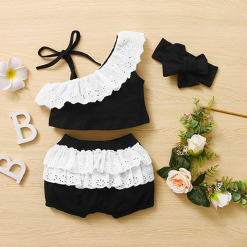 3pcs Baby Girl Sling Cotton Sweet Baby's Sets