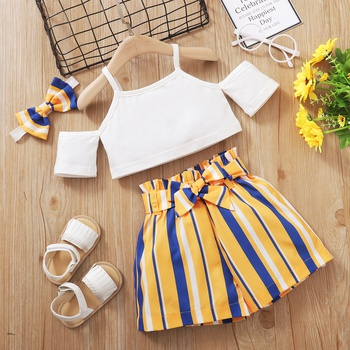 2pcs Baby Girl Short-sleeve Striped Cotton Baby's Sets