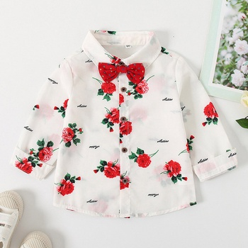 Baby / Toddler Floral Bow tie Long-sleeve Shirt