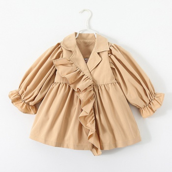 Baby / Toddler Chic Ruffled Solid Long-sleeve Windbreaker