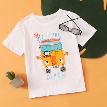 1pc Toddler Boy Cotton Short-sleeve Vacation Vehicle Tee
