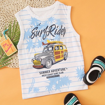 Baby / Toddler Casual Comfy Letter Car Cotton Sleeveless Tee