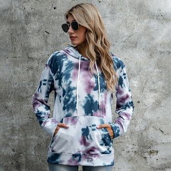 Hooded Tie dye full print Lovely ng sleeve normal Hooded