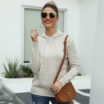 Hooded Plain long sleeve casual Pullovers