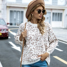 Round collar Leopard full print long sleeve casual Pullovers