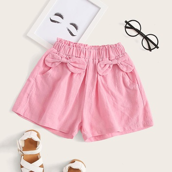 Baby Girl casual Solid Cotton Bow Shorts