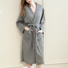 Casual Solid Crop-sleeve Maternity Robe