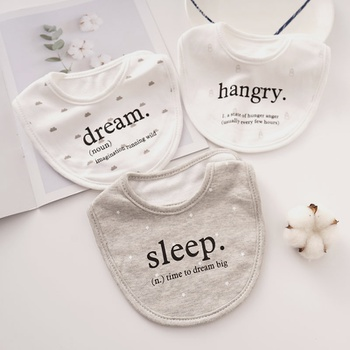 3-pieces Letter Cartoon Print Softness Cotton Baby Absorbent Bibs