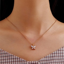 Women Gold Color Butterfly Party Pendant Necklace Fashion Simple Ladies Pentagon-Butterfly Jewelry Gifts