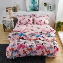 Butterfly Print Cover Set Pinch Pleat Brief Bedding Sets Comfort Cover Pillow Cases