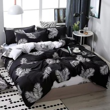 Leaf Print Cover Set Pinch Pleat Brief Bedding Sets Comfort Cover Pillow Cases
