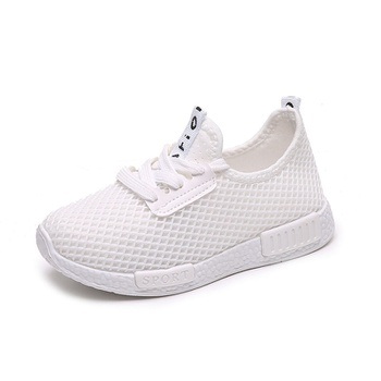 Kid Breathable Mesh Surface Solid Lace-up Sneakers