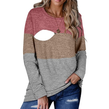 Maternity Round collar Color Block Color block Long-sleeve Nursing Tee