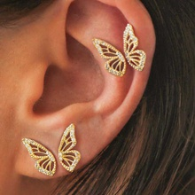 Butterfly Earrings Women Girls Lovely Gold Color Simple Fashion Jewelry Gifts