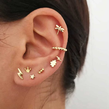 Royal Crown Earring Studs Women Cartilage Dainty Studs Tiny Jewelry