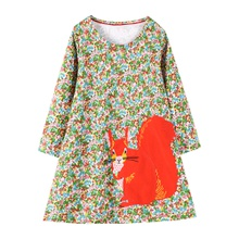 Toddler Girl Squirrel Floral Pattern Long-sleeve Dress