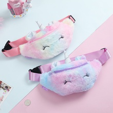 1-pack Colorful Unicorn Fleece Shoulder Bag for Children