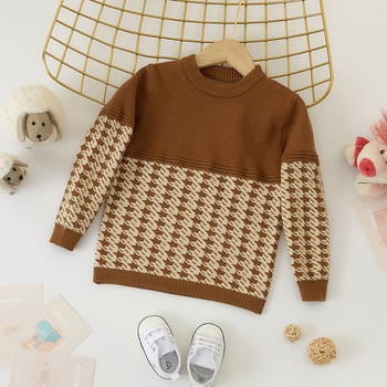 Baby / Toddler Causal Houndstooth Long-sleeve Sweater