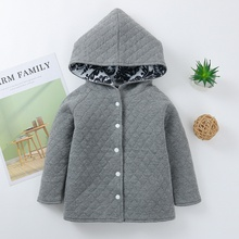 1pc Baby Girl Long-sleeve Cotton Hooded  casual Coat & Jacket