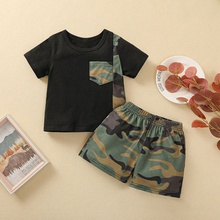 2pcs Baby Boy Street style Short-sleeve Cotton Camouflage Baby's Sets