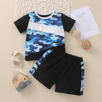 2pcs Baby Boy casual Camouflage Beach Short-sleeve Cotton Baby's Sets