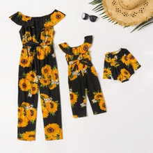Sunflower Print Ruffle Off-shoulder Matching Black Jumpsuits