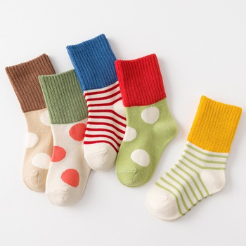 5-pack Baby / Toddler / Kid Polka dots Striped Knitted Thermal Middle Socks