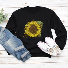 Round collar Sunflowers Litooffset print long sleeve normal Pullover