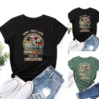 Round collar Positioning print Short Sleeve casual T-shirt