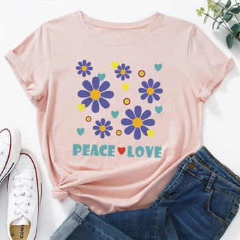 Casual Heart-shaped Letter Daisies Print Round collar Short Sleeve T-shirt