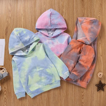 Baby / Toddler Tie-dye Colorful Long-sleeve Hooded Pullover