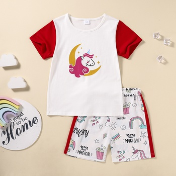 Kids Girl Unicorn Tee and Shorts Set