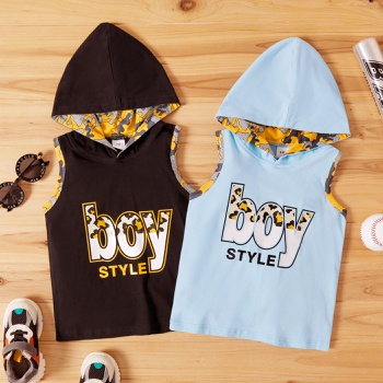 Toddler Boy Letter Camouflage Hooded Sleeveless Top